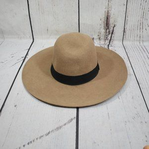 Do Everything With Love Wide Brim Wool Tan Hat